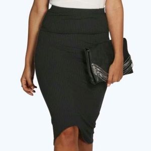 Dipped Hem Ribbed Midi Skirt